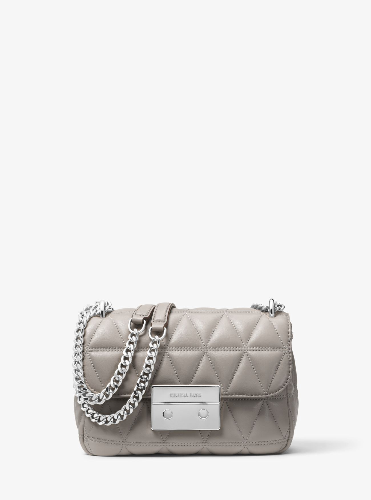 db903fba03cd Michael Kors Sloan Small Quilted-Leather Crossbody - Pearl Grey ...