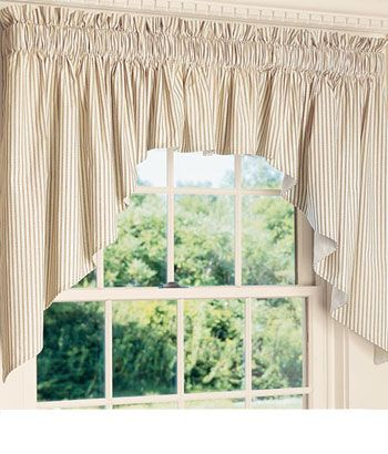 Homespun Ticking Stripes Lined Swag Curtains Country Curtains Window Coverings