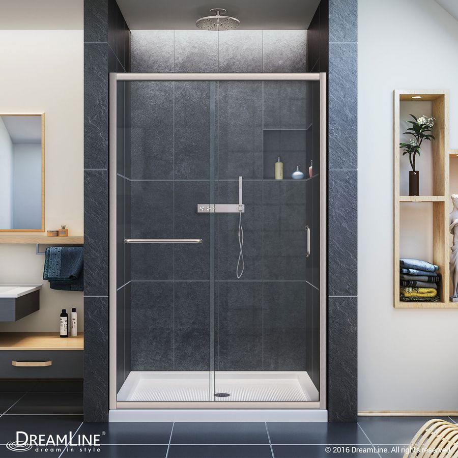 Dreamline Infinity-Z Brushed Nickel Acrylic Wall And Floor 3-Piece ...