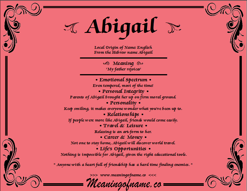 Italian Boy Name: Meaning Of The Name Abigail - Google Search