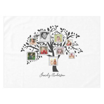 Photo Collage Family Tree Template Personalized Tablecloth Wedding