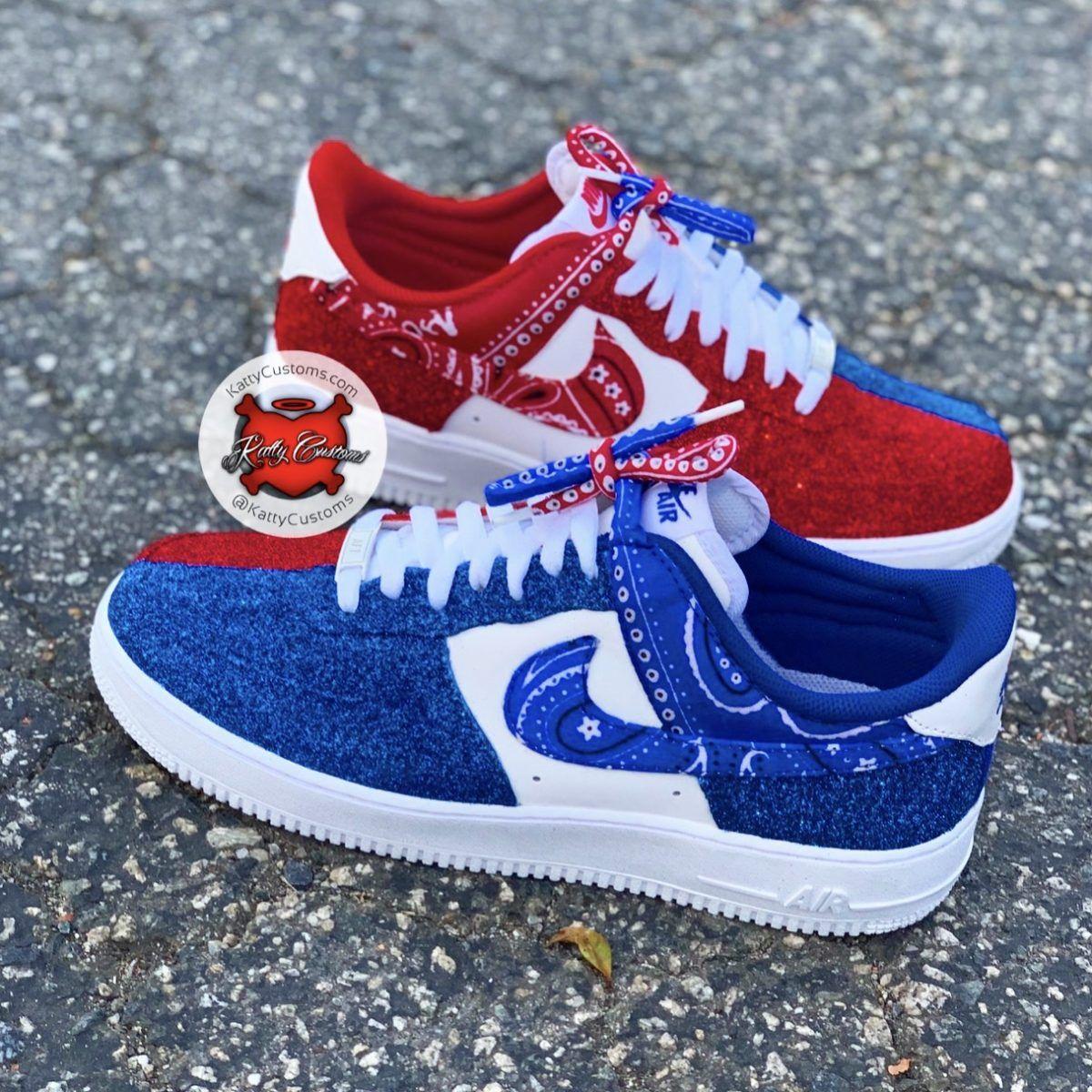 Products Katty Customs Red bandana shoes, Nike shoes