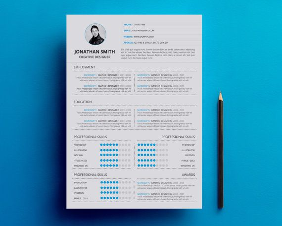 Resume\/CV Template One Page Printable Resume Template Word - single page resume