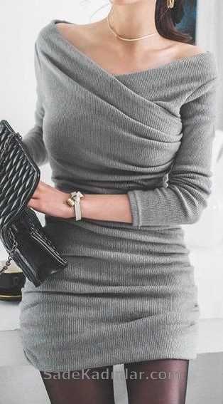 Triko Elbise Modelleri Gri Çapraz V Yakalı Uzun Kolu