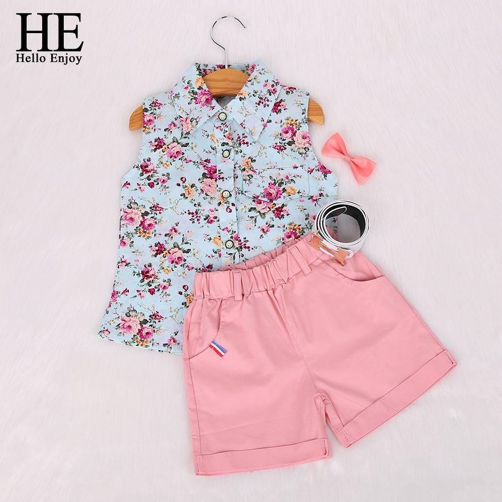 462d247758 Barato Crianças roupas de verão 2015 novo roupas infantis menina de bebê  menina conjuntos de roupas de moda crianças sem mangas floral + shorts