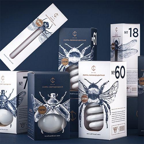 Light Bulb Packaging Design By Angelina Pischikova For Cs Combines The Illustrations Of Insects And Packaging Design Packaging Design Trends Light Bulb Design