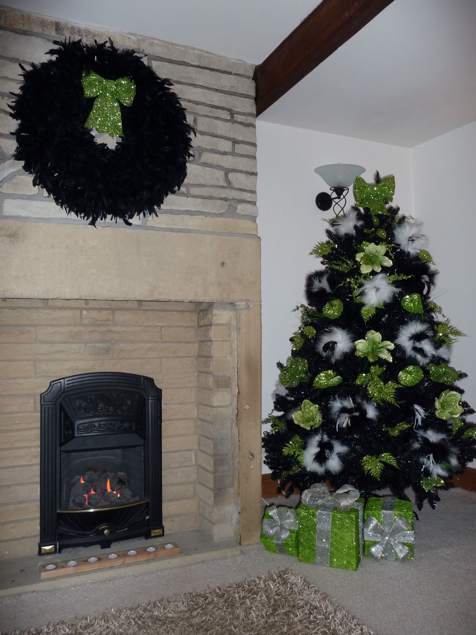 My Home Made 3ft Diameter Black Ostrich Feather Wreath With Glittering Lime Green Bow Matching 6ft Christmas Tree