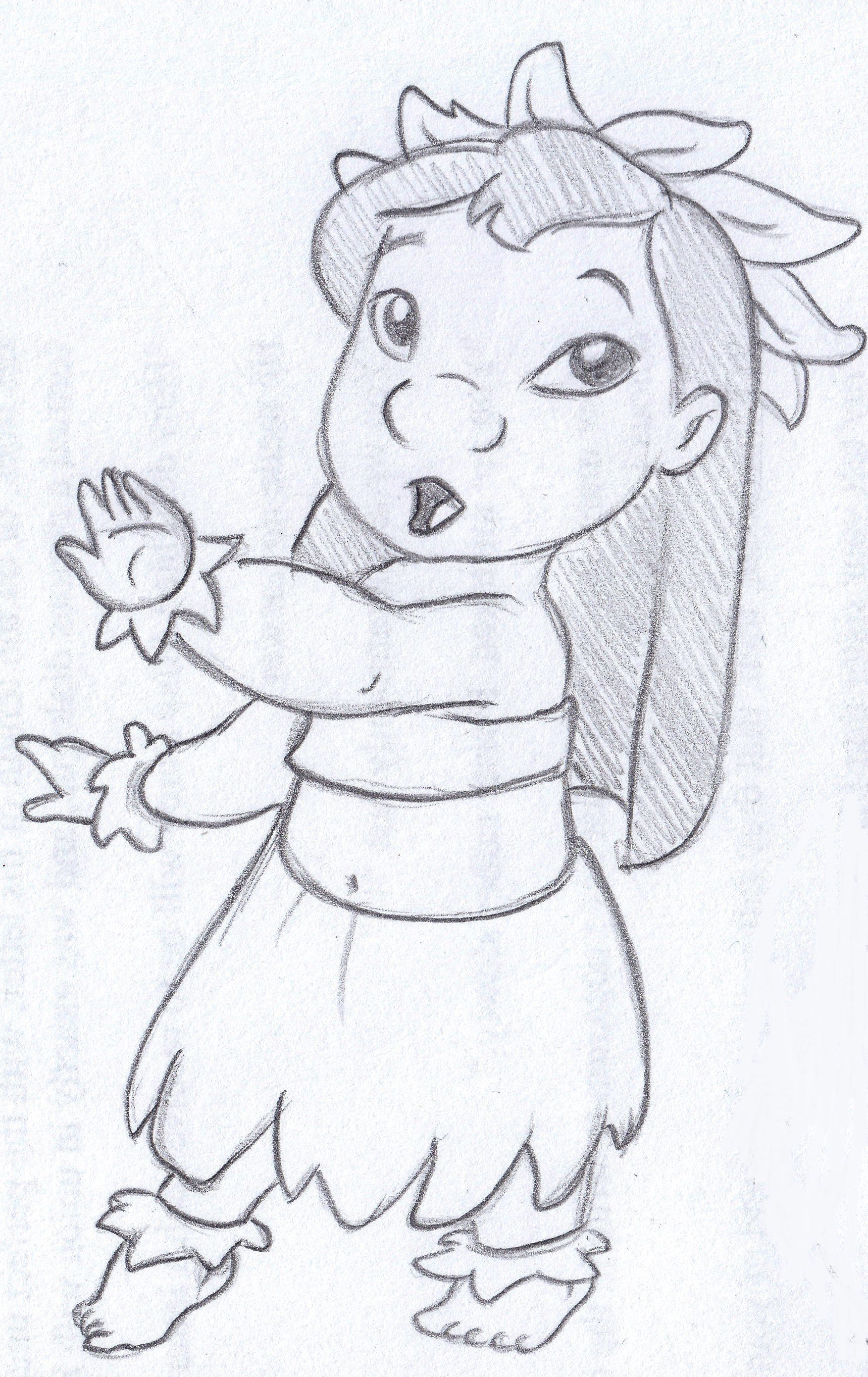 Disney sketch lilo dancing hula art by anna helena for Fun things to draw in pencil