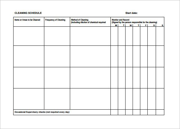 Cleaning Schedule Template u2013 24+ Free Word, Excel, PDF Documents - hourly schedule template