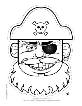 Hat Pirate Mask to Color Printable Mask, free to download
