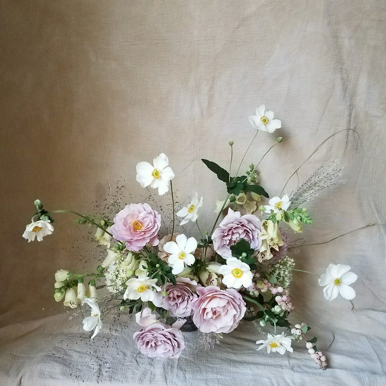 Pink Purple And White Flower Arrangement With Japanese Anemones By