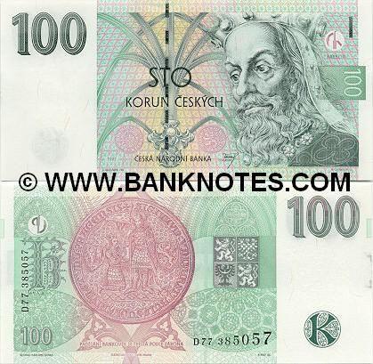 Czech Republic Currency 100 Korun 1997 Bank Notes Paper Money