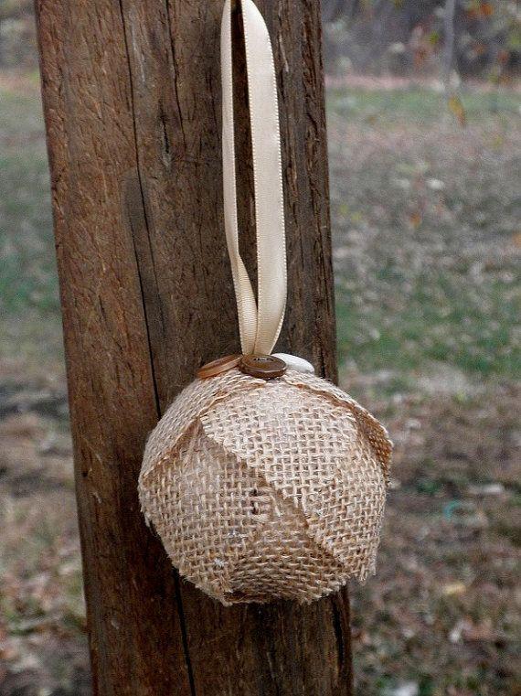 burlap button ornament
