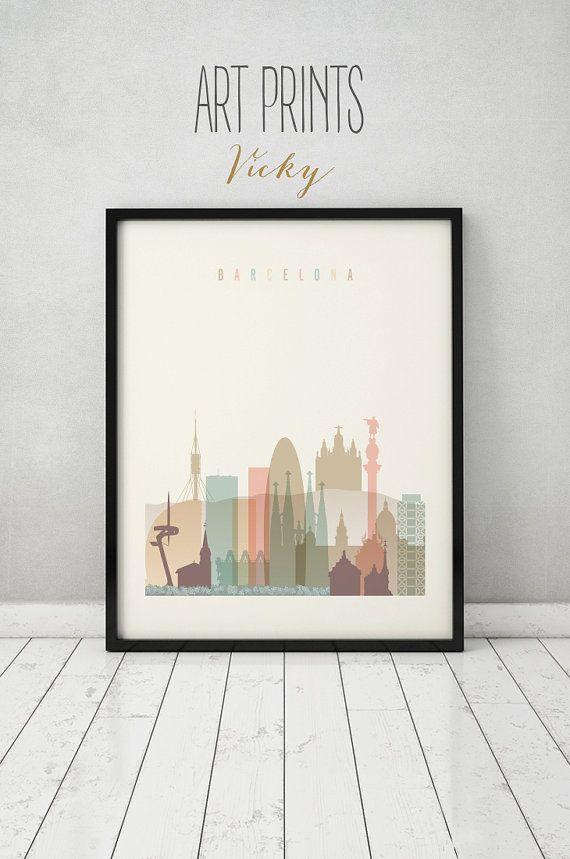 Barcelona impresión cartel arte de la pared skyline de