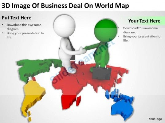 3d image of business deal on world map ppt graphics icons powerpoint