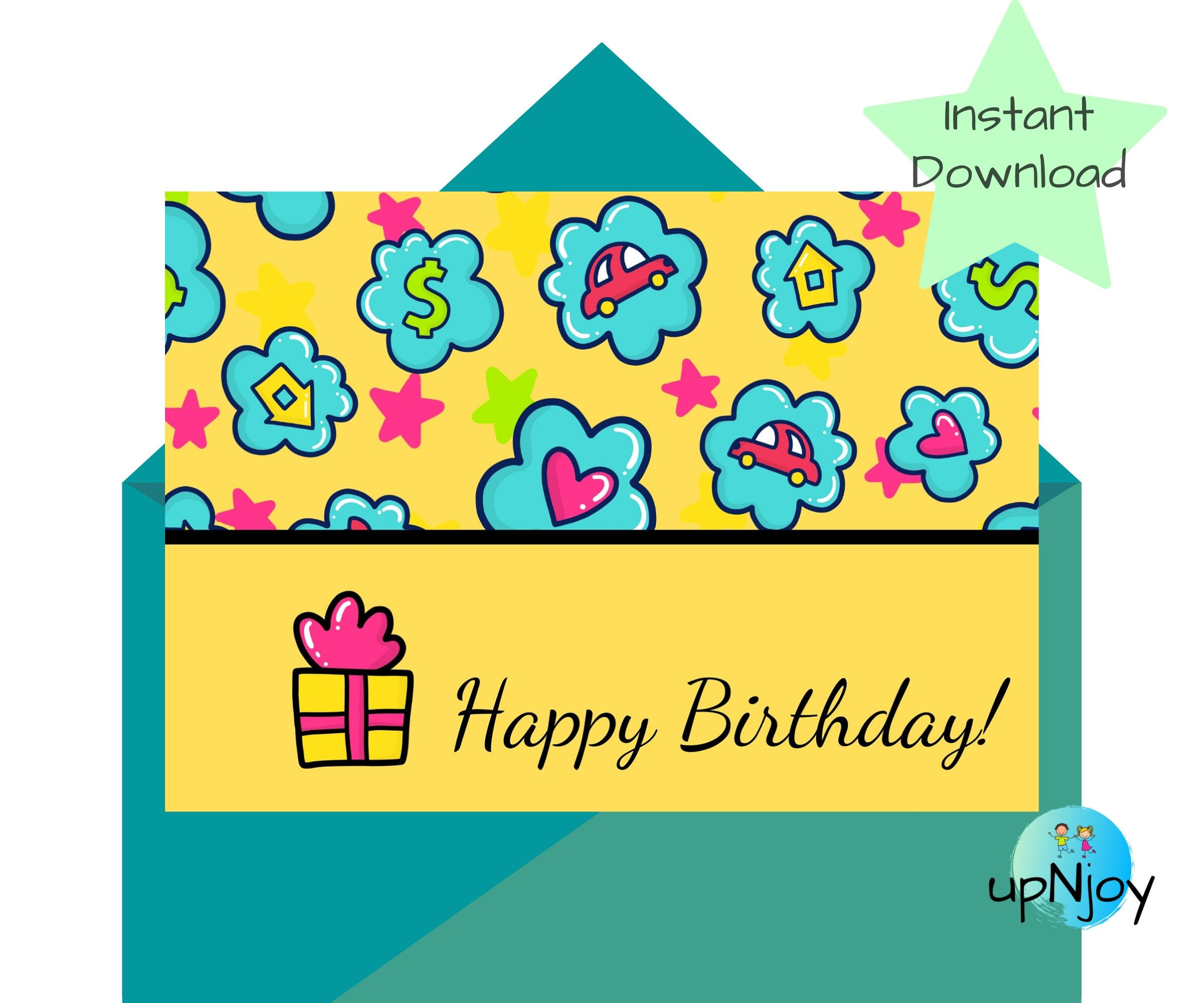 Yellow Birthday Card Digital Print Colorful Happy Birthday Etsy Birthday Card Printable Birthday Cards Birthday Cards For Boys