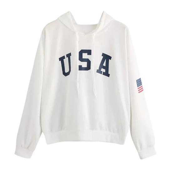 USA Print letter National Flag Hoodies Women 2018 Female Sweatshirts Pullover Warm utumn Winter Sweatshirt ropa mujer 2