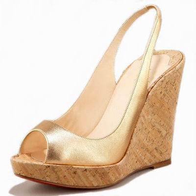 Metallic Cork 120mm Satin Peep Toe Slingbacks Platform Wedges Gold - EveAllure