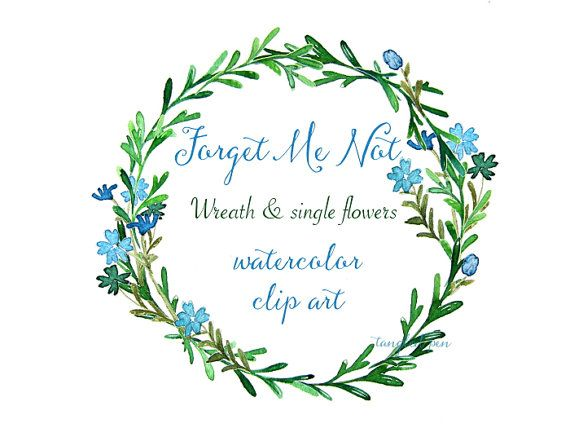 Forget Me Not Wedding Invitations: Watercolor Clip Art Hand Painted Wreath Blue Flowers By