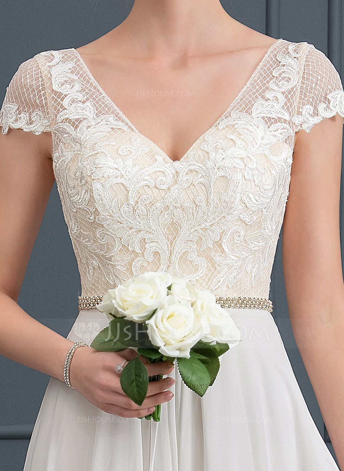 A-Line/Princess V-neck Sweep Train Chiffon Wedding Dress With Beading (002171951) - JJ's House