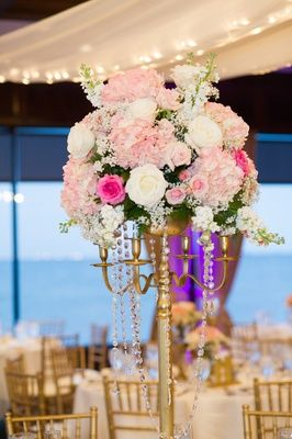 A waterfront winter wedding with blush gold details in tampa fl gold candelabrum centerpiece photography andi diamond photography read more httpwww junglespirit Gallery