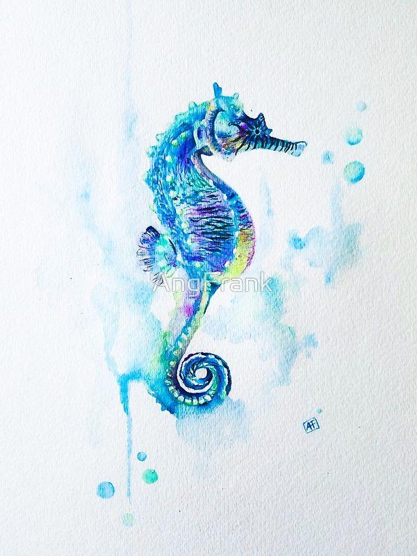 Watercolor Seahorse Art Print By Ang Frank Seahorse Tattoo