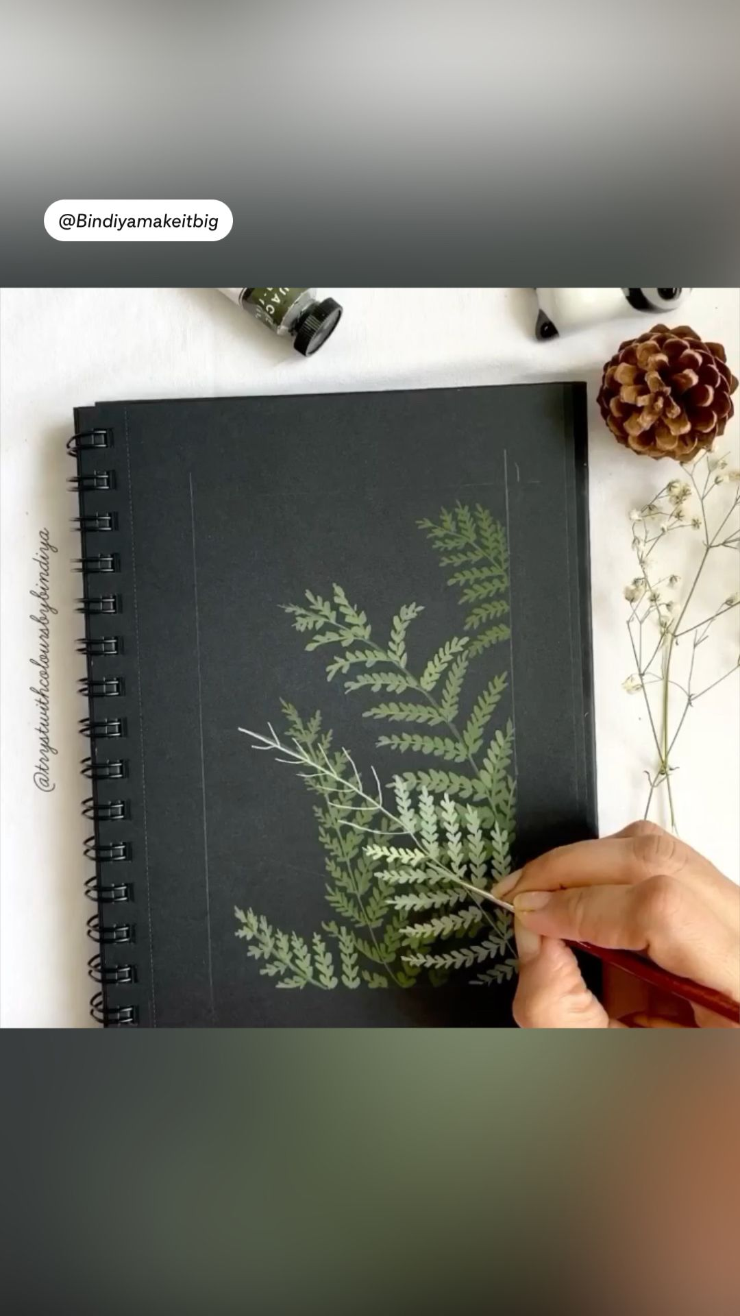 Ferns in gouache and gold foil