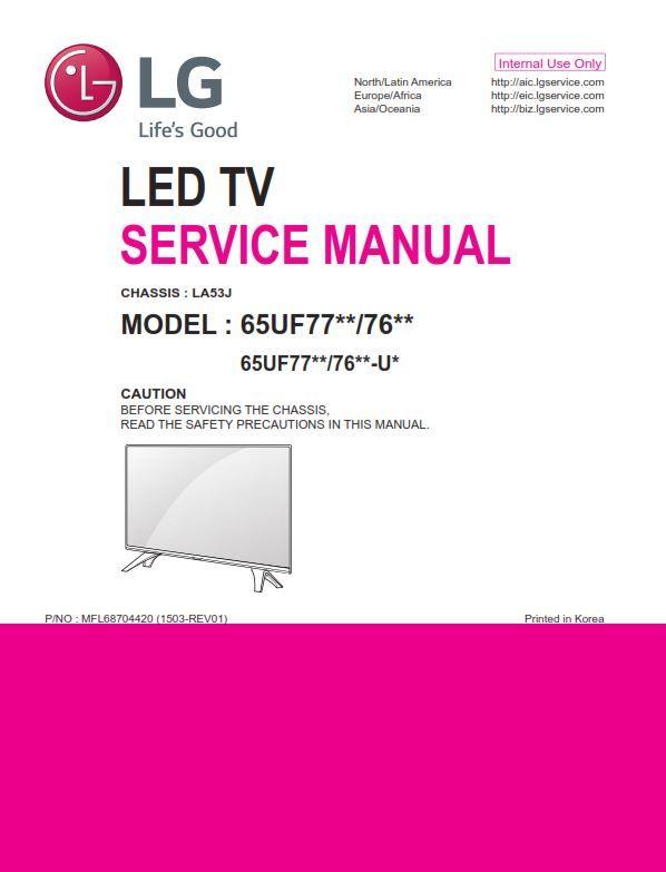 LG 65UF7700 65UF7690 65UF7650 Service Manual + Schematics