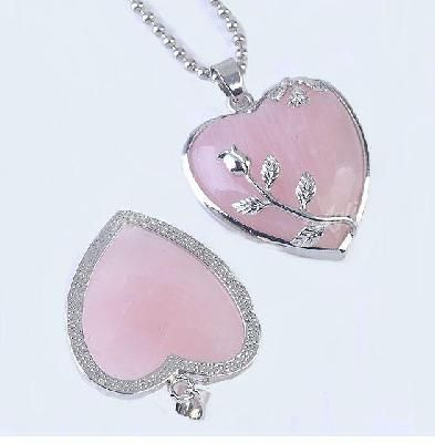 FREE SHIPPING! $13 Rose Heart Quartz Silver Leaf Pendant: The Rose Quartz - the Crystal of the Heart - is used to encourage love of others, friendship, and compassion towards others.
