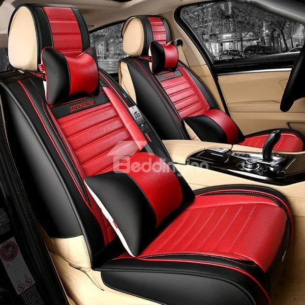 Cars Popular Sport Style PU Leatherette Material Contrast Color Universal Five Car Seat Cover
