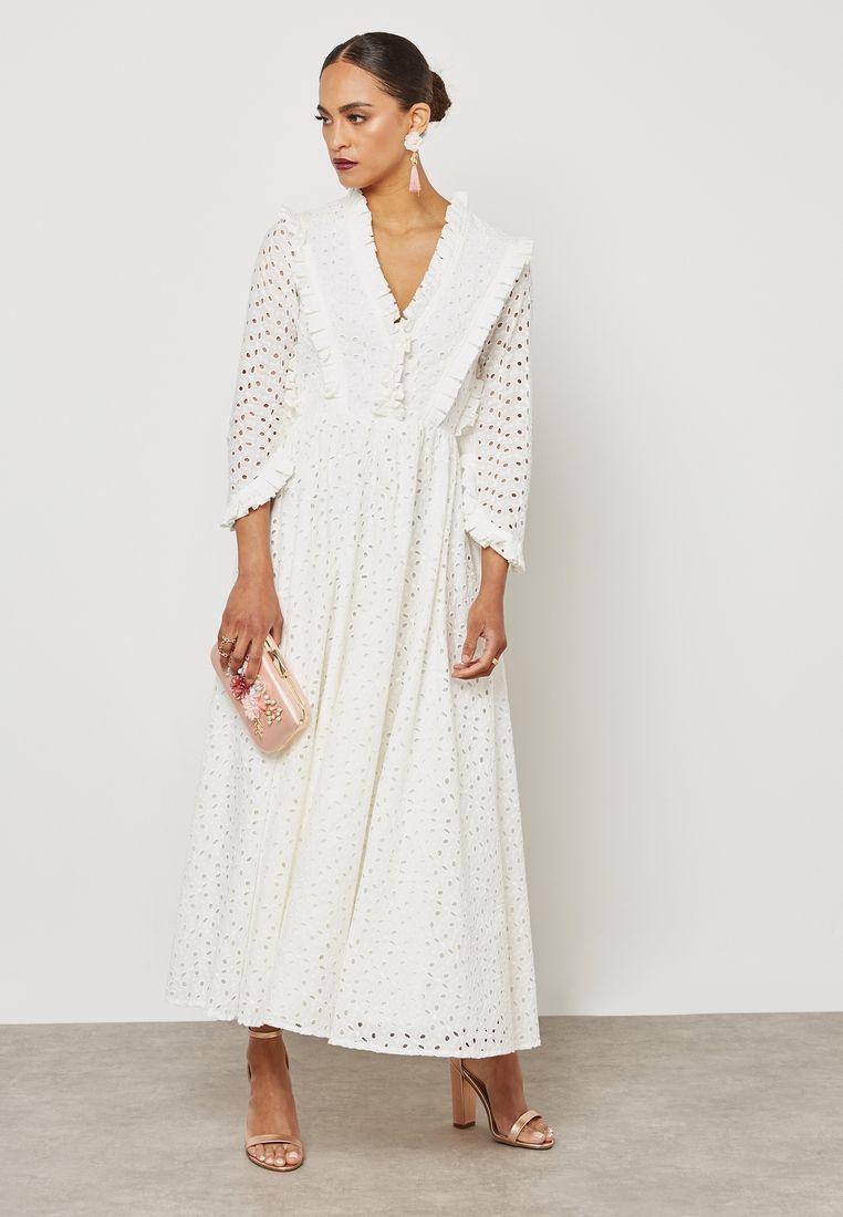 1ebd5c00302 Shop Threadz white Pleat Detailed Schiffli Dress D23 for Women in UAE -  TH488AT62RVD