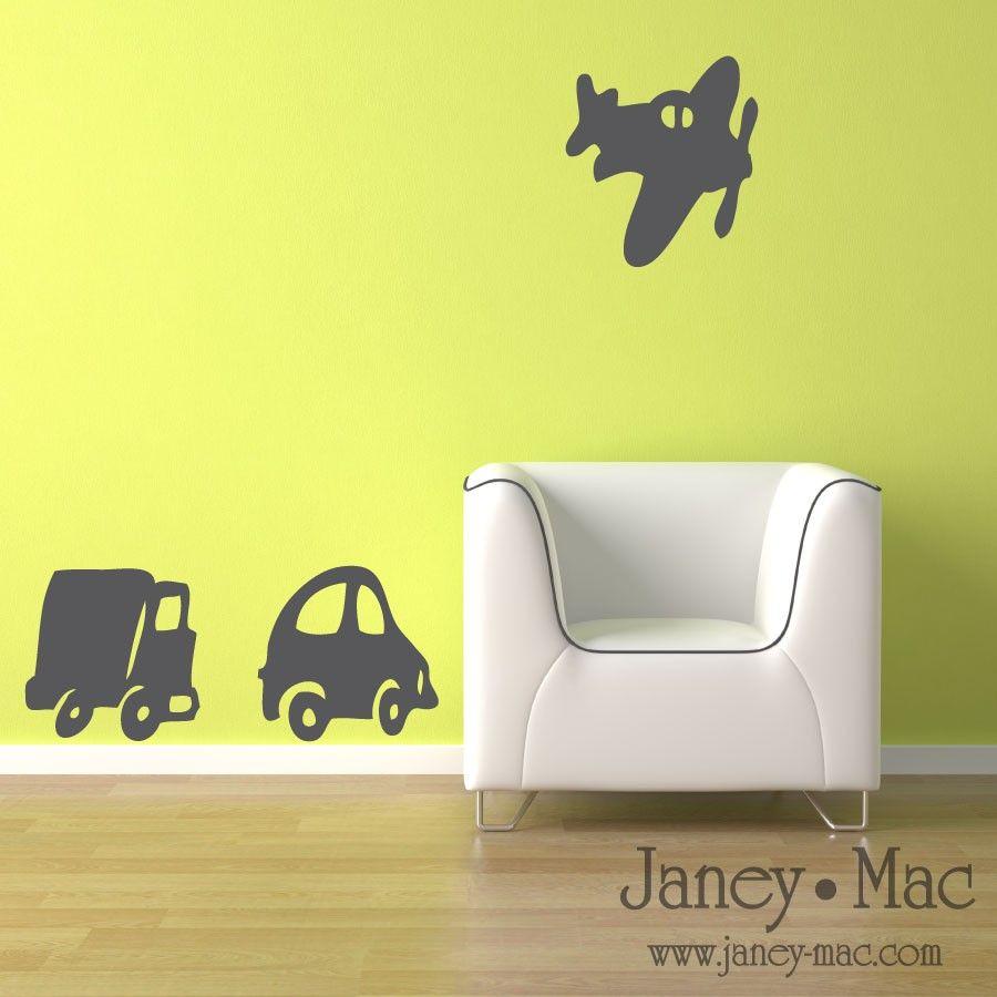 Transportation Wall Decal Airplane Truck Car - Modern Vinyl Wall Art ...