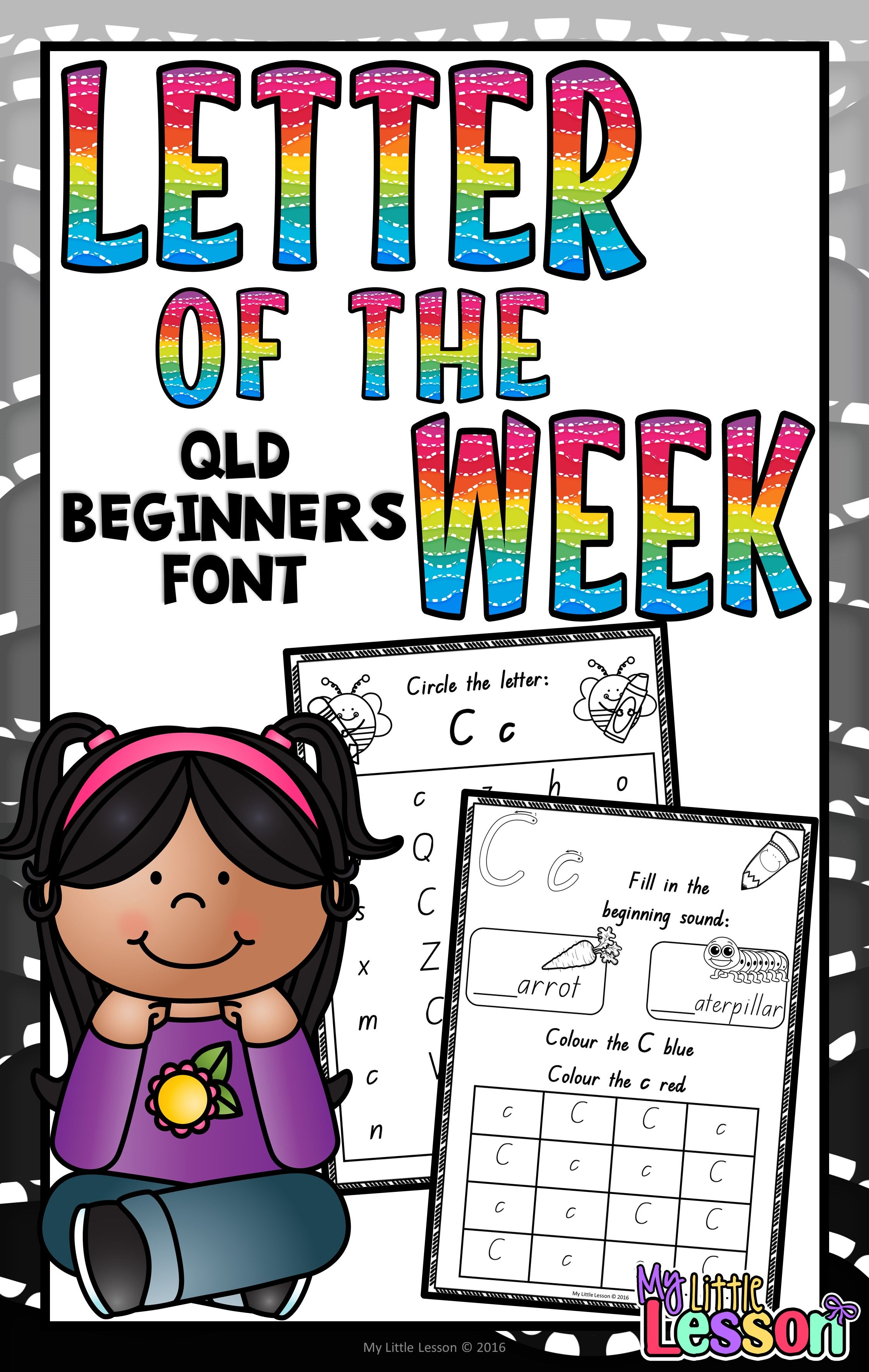 Letter of the Week Worksheets QLD Beginners Font Letter