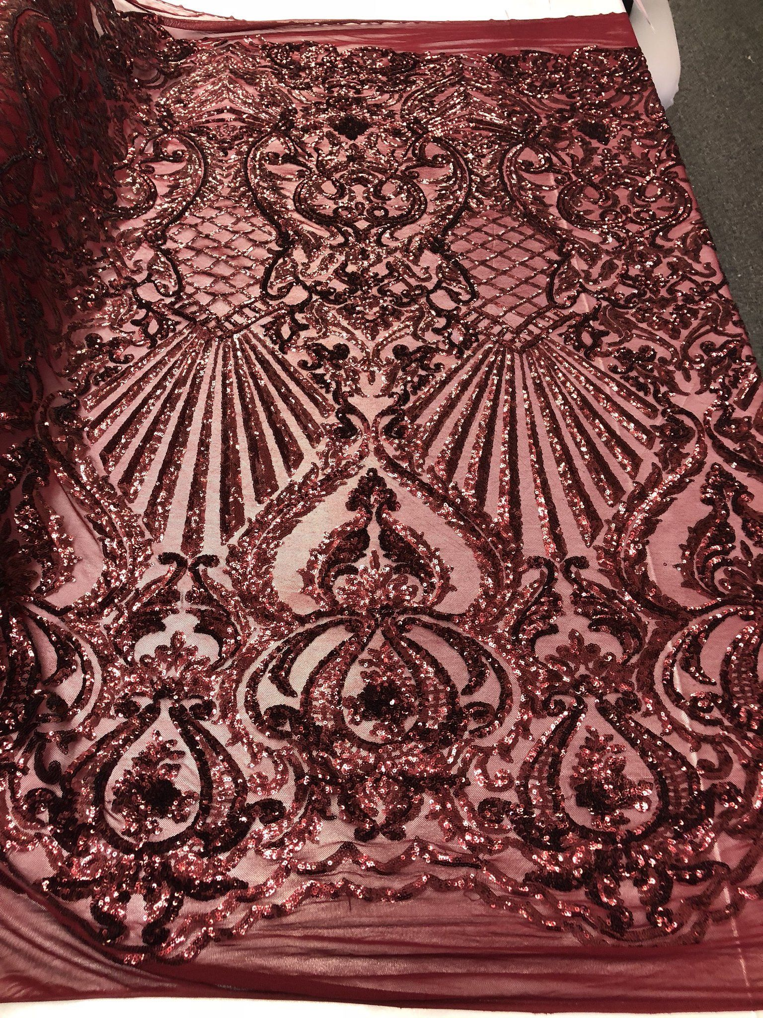 Red Sequins Fabric 4 Way Stretch Embroidered On Mesh Lace Fabric By The Yard