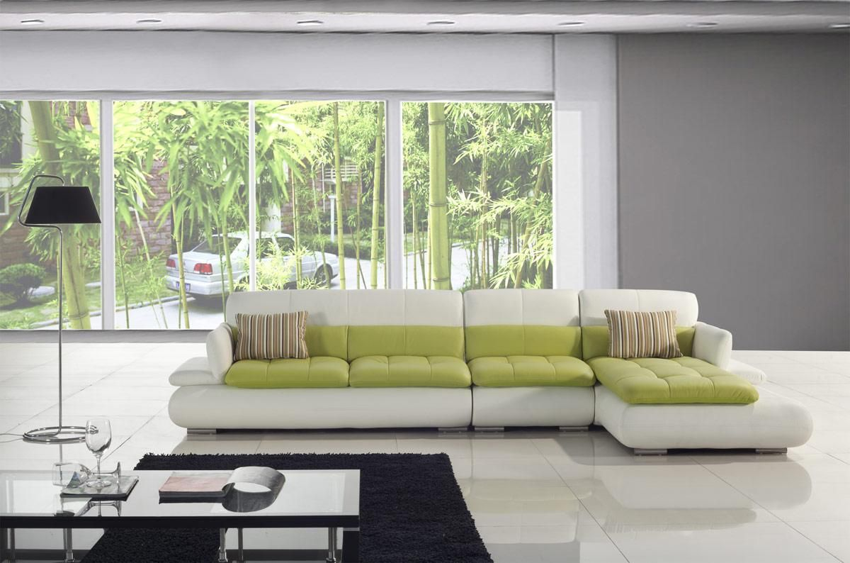 Cool Green White Combine Color L Shaped Couches Ideas With