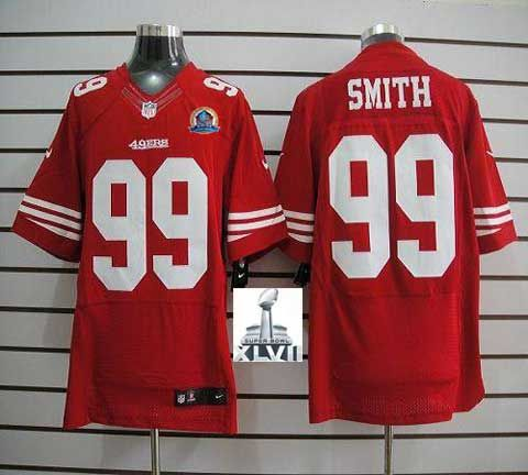 7a71d8682 ... 2013 Super Bowl New NFL Jerseys San Francisco 49ers 99 Aldon Smith  Elite Red With Hall ...