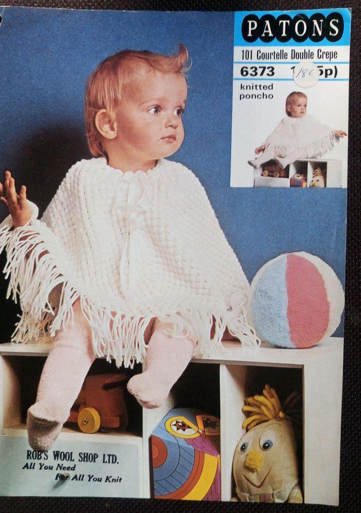 Baby Poncho Patons 6373 Vintage Knitting Pattern Dk Yarn Patons