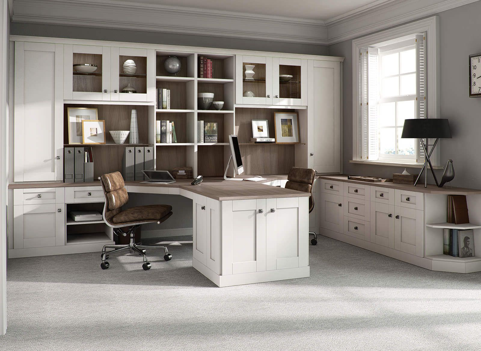 this stunning pure white home office is clutter free and