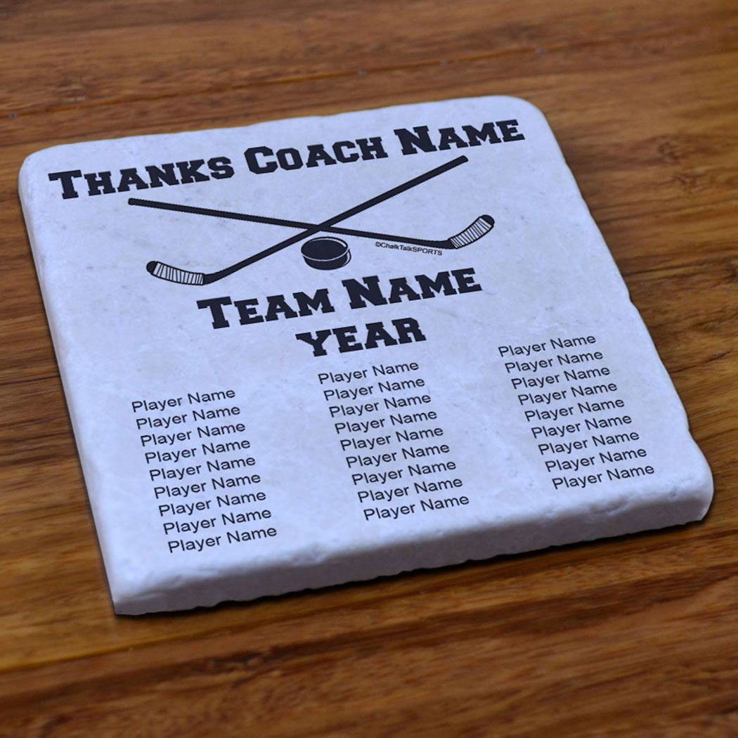 Hockey Stone Coaster Thanks Coach With Team Roster Hockey Coasters Hockey Drinkwear Hockey Coach Gifts Softball Coach Gifts Hockey Coach