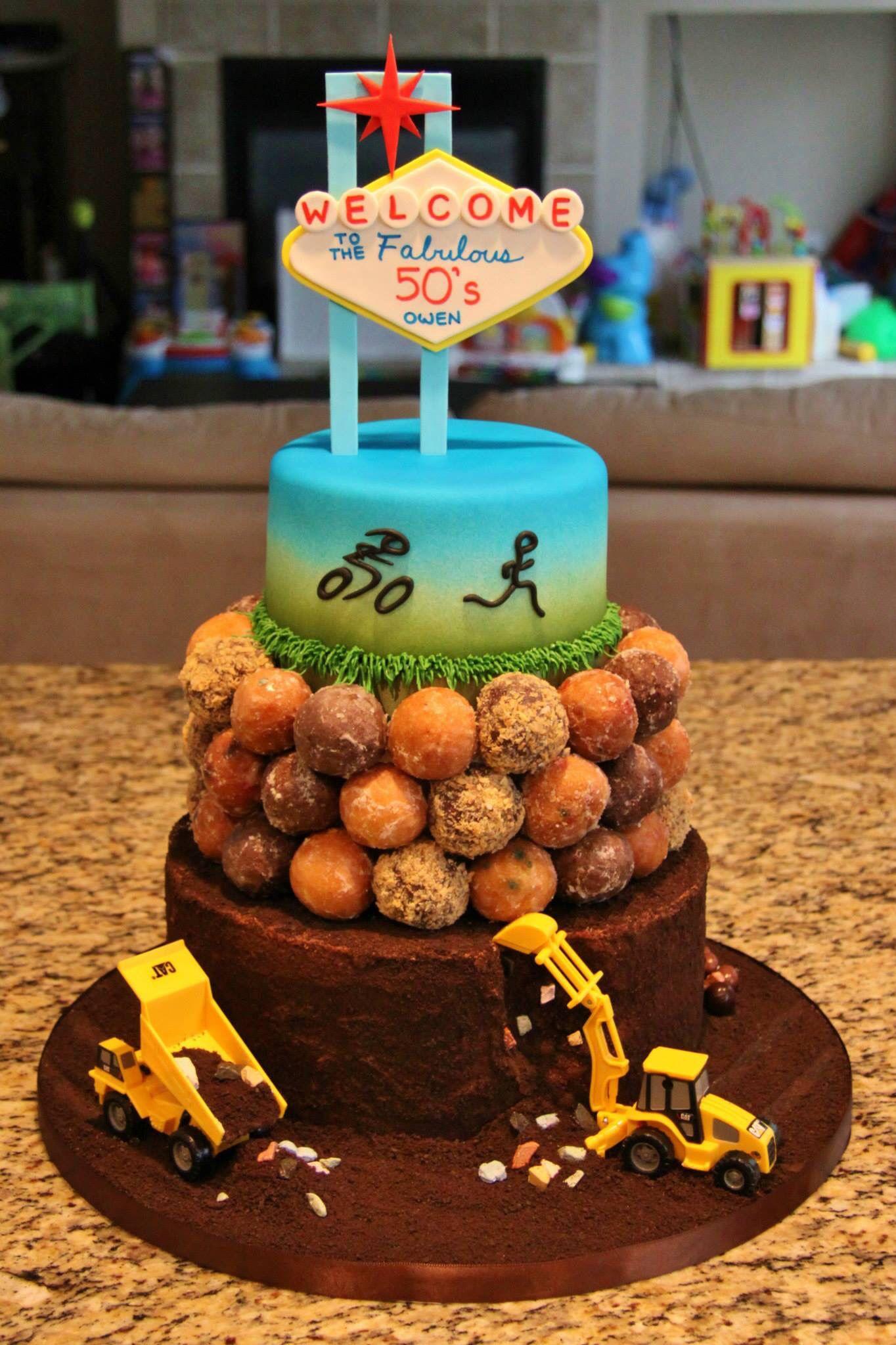 50th Birthday Cake Cat Trucks Tim Hortons Timbits Bicyclist And
