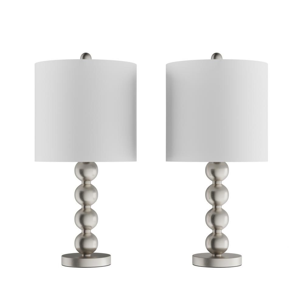 Lavish Home 24 5 In Contemporary Brushed Silver Stacked Ball Led Table Lamps With Ivory Shades Set Of 2 In 2020 Table Lamp Led Table Lamp Table Lamps For Bedroom