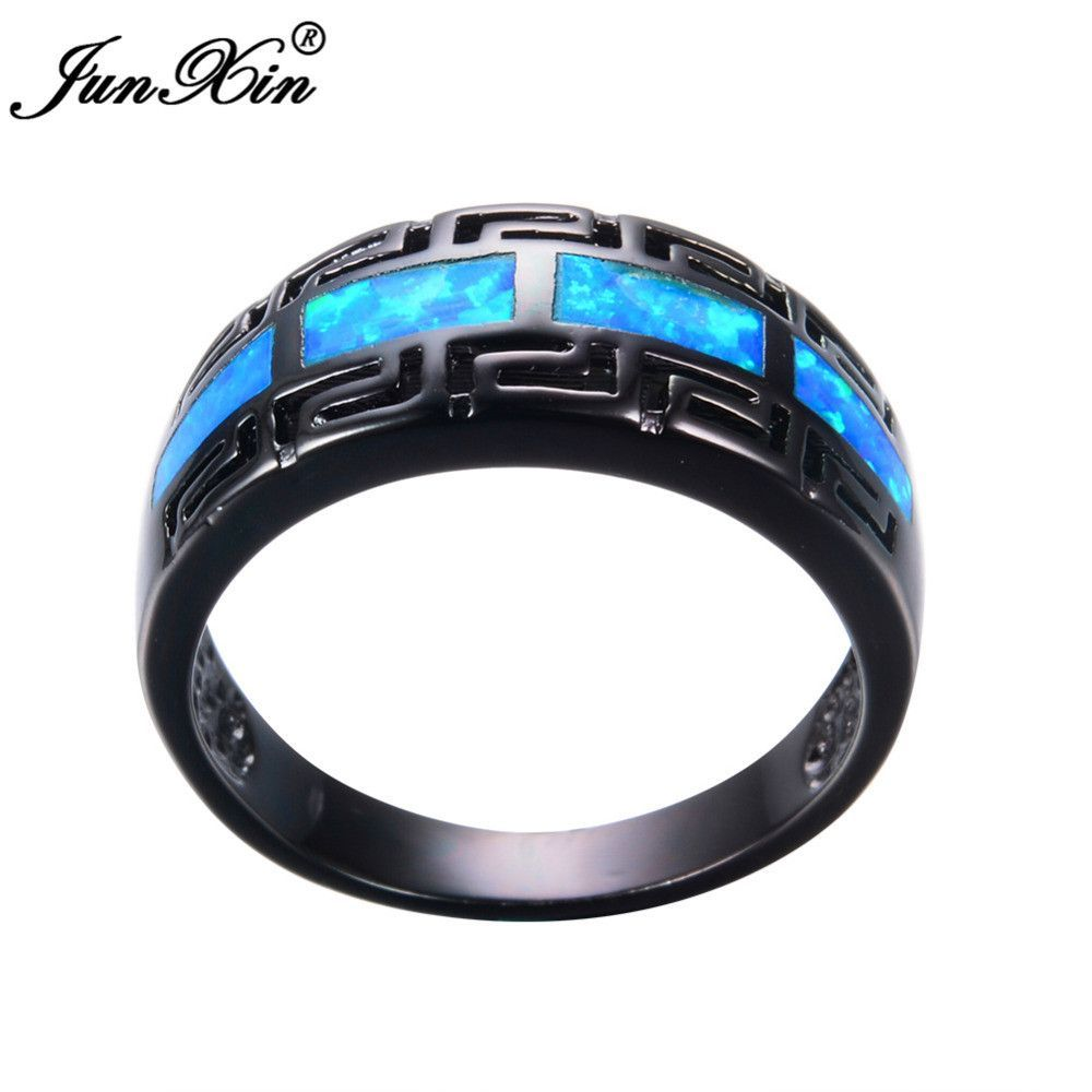 JUNXIN Male Female Blue Fire Opal Ring Black Gold Filled Vintage