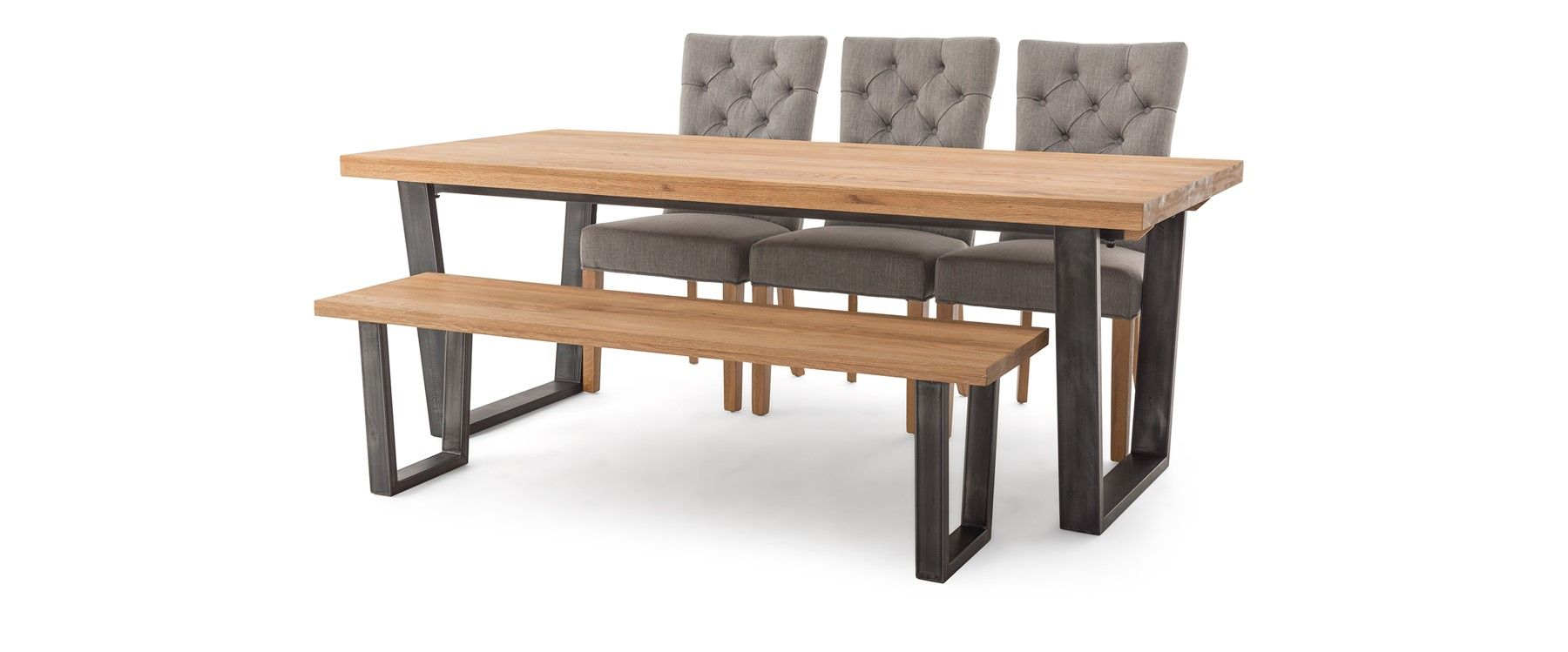 Calia Dining Table & 3 Marlow Chairs & Bench | EZ Living Furniture ...