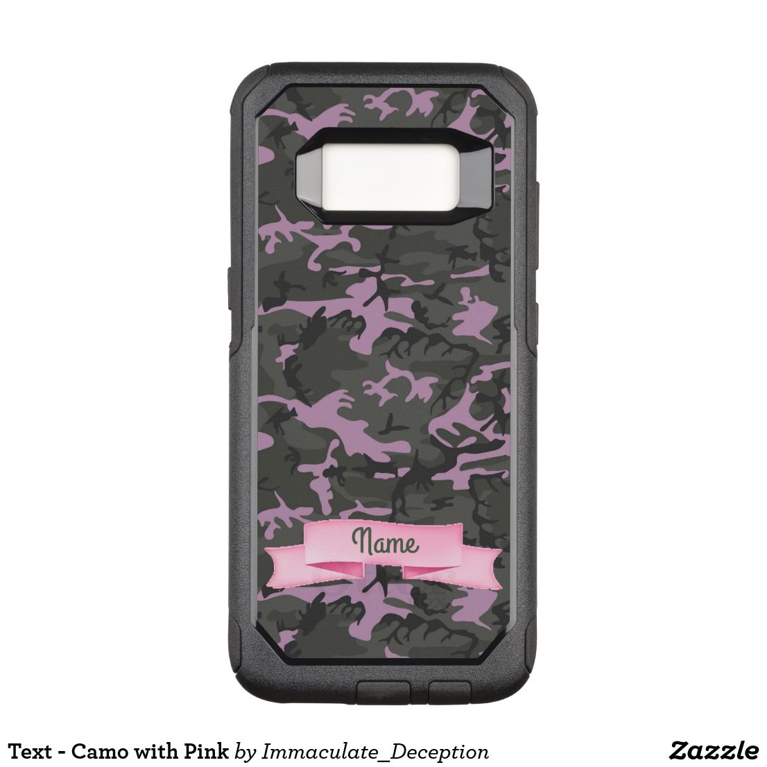 big sale 0619f fccd2 Text - Camo with Pink OtterBox Commuter Samsung Galaxy S8 Case ...