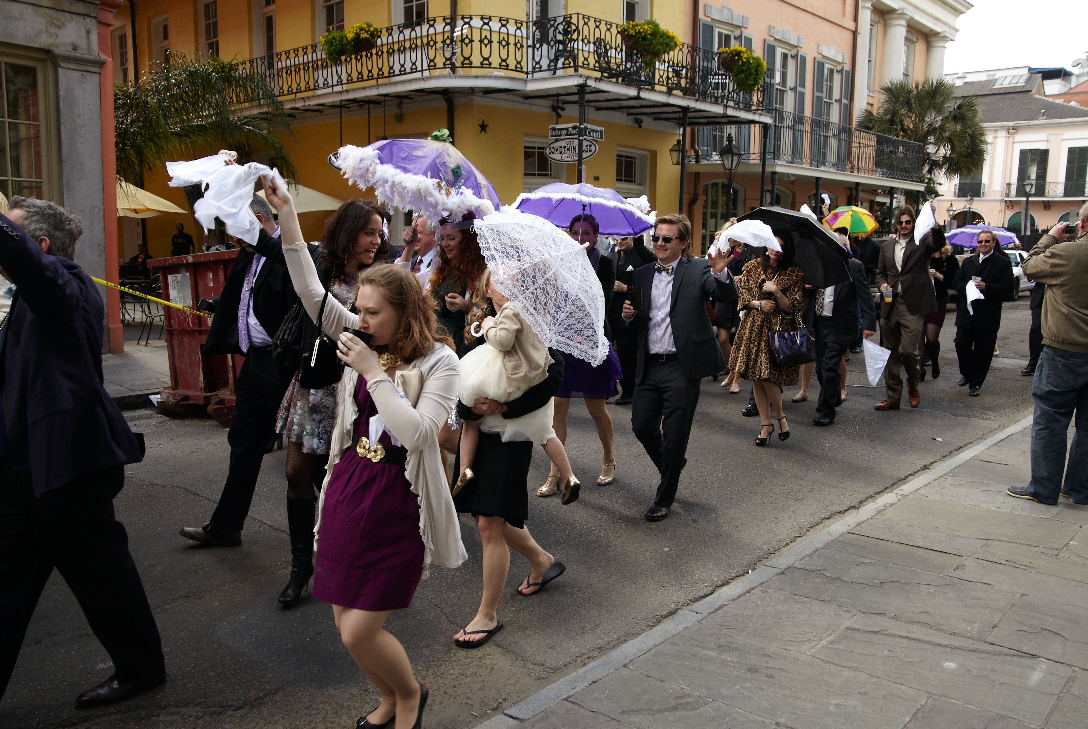 Post Wedding Reception Second Line Parade Through The French Quarter In New Orleans Nola