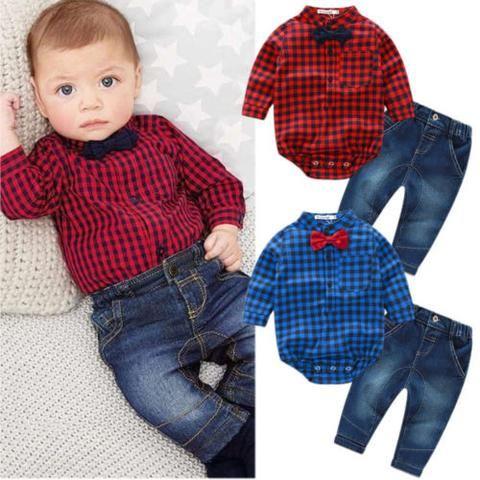 294d456871 2PCS Set New Kids Baby Boy Romper Jumpsuit Tops+Jeans Pants Gentleman  Outfits Children Clothes Set