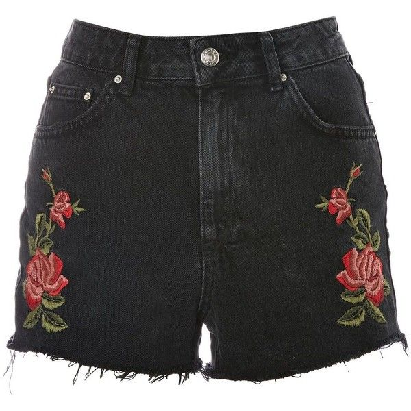 bf6e074852 Topshop Moto Rose Embroidered Mom Shorts (£34) via Polyvore featuring shorts,  washed black, topshop shorts, high-waisted shorts, high waisted shorts, ...