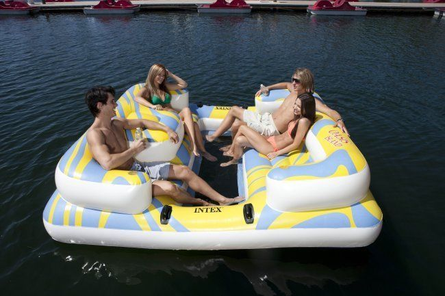 Intex Oasis Island 5 Person Inflatable Lake Pond River Float Lounge Raft 58293EP