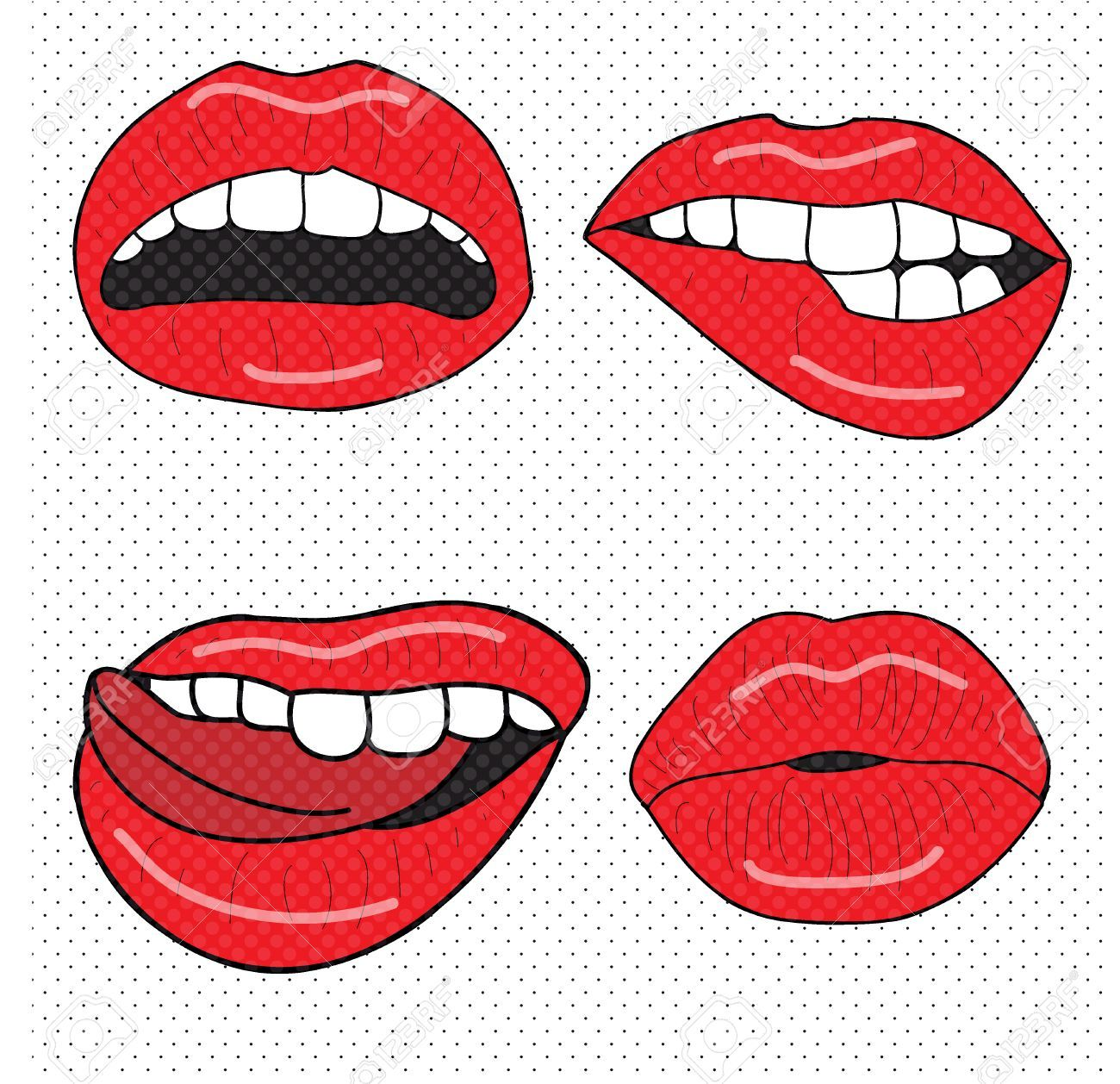 Pop Art Lips Drawing