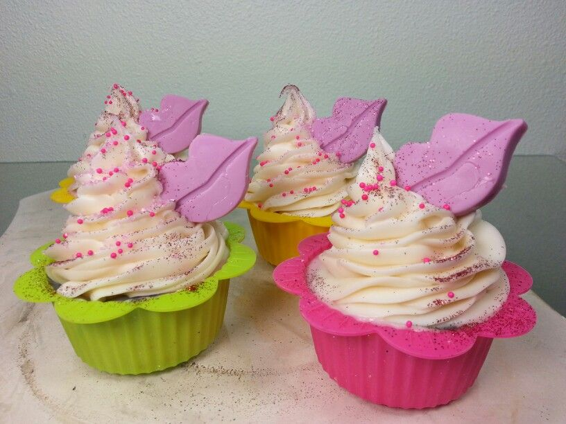 Kiss and Tell cupcake soaps.